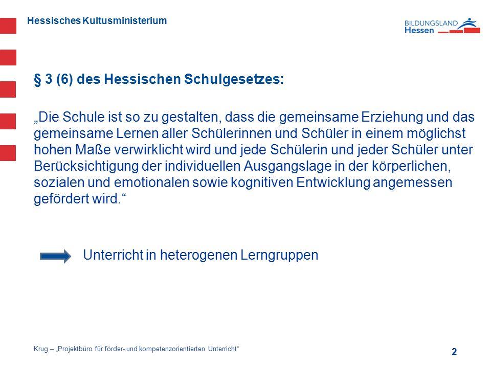 """Hessisches Kultusministerium § 3 (6) des Hessischen Schulgesetzes: """"Die Schule ist so zu gestalten, dass die gemeinsame Erziehung und das gemeinsame L"""