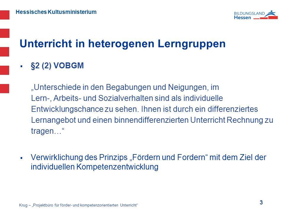 """Hessisches Kultusministerium Unterricht in heterogenen Lerngruppen  §2 (2) VOBGM """"Unterschiede in den Begabungen und Neigungen, im Lern-, Arbeits- un"""