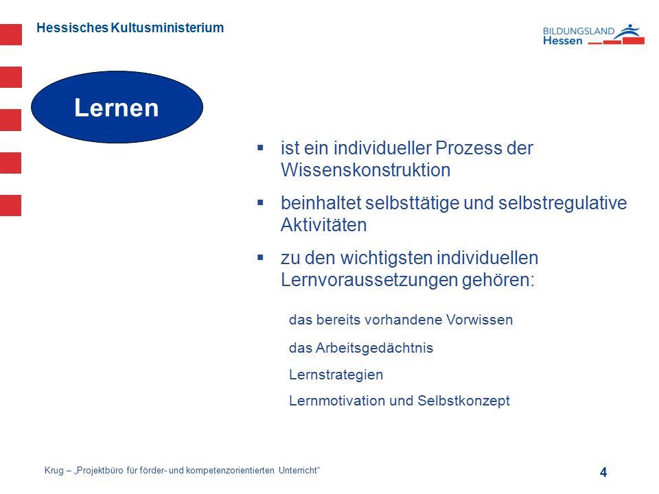 Hessisches Kultusministerium  ist ein individueller Prozess der Wissenskonstruktion  beinhaltet selbsttätige und selbstregulative Aktivitäten  zu d