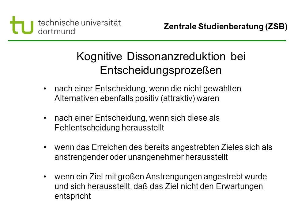 Zentrale Studienberatung (ZSB) Kognitive Dissonanzreduktion bei Entscheidungsprozeßen nach einer Entscheidung, wenn die nicht gewählten Alternativen e