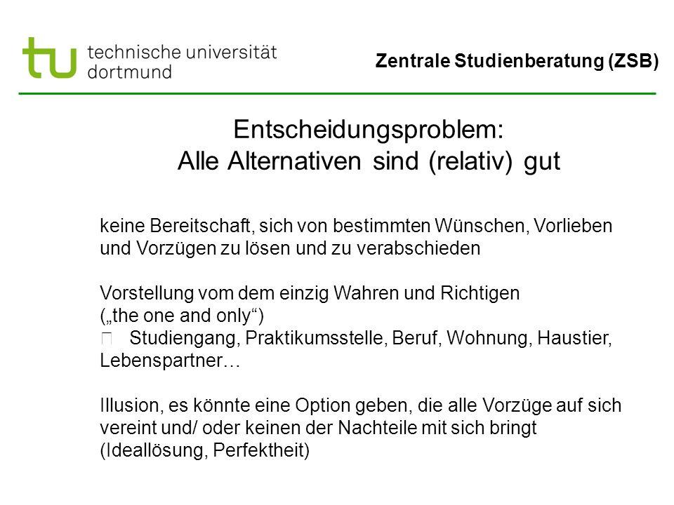 Zentrale Studienberatung (ZSB) Entscheidungsproblem: Alle Alternativen sind (relativ) gut keine Bereitschaft, sich von bestimmten Wünschen, Vorlieben