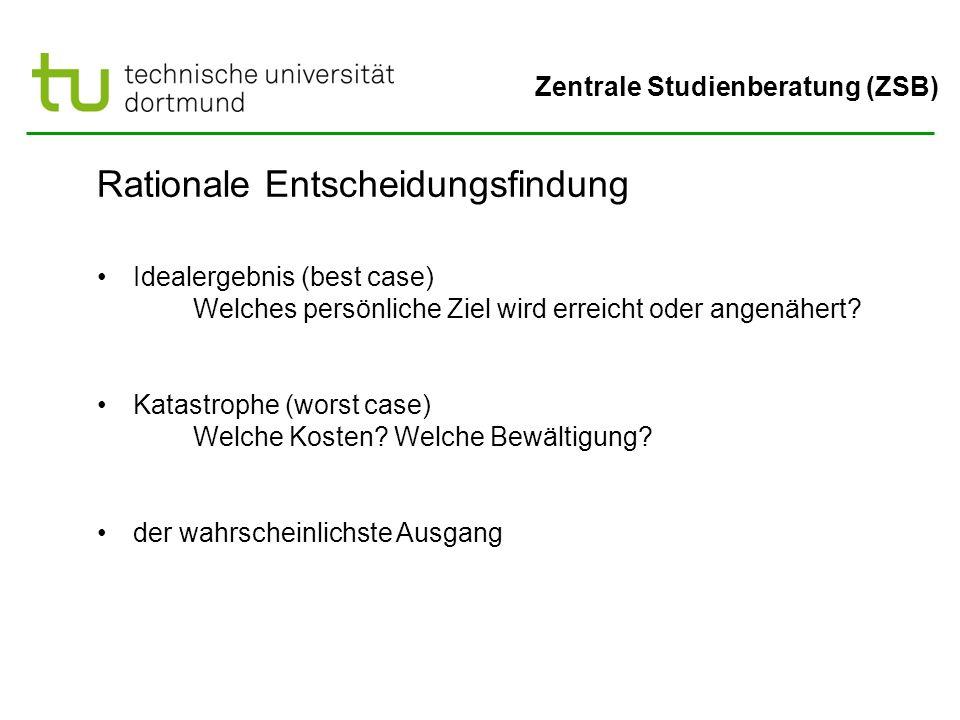 Zentrale Studienberatung (ZSB) Rationale Entscheidungsfindung Idealergebnis (best case) Welches persönliche Ziel wird erreicht oder angenähert? Katast