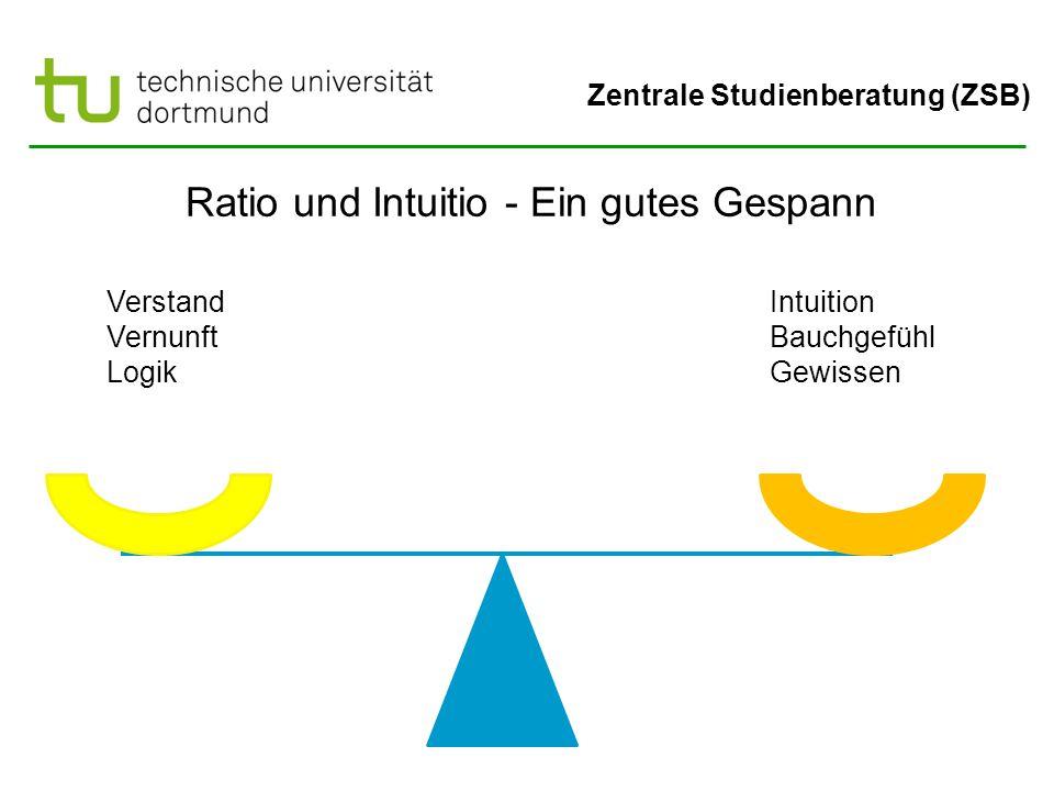 Zentrale Studienberatung (ZSB) Ratio und Intuitio - Ein gutes Gespann Verstand Vernunft Logik Intuition Bauchgefühl Gewissen