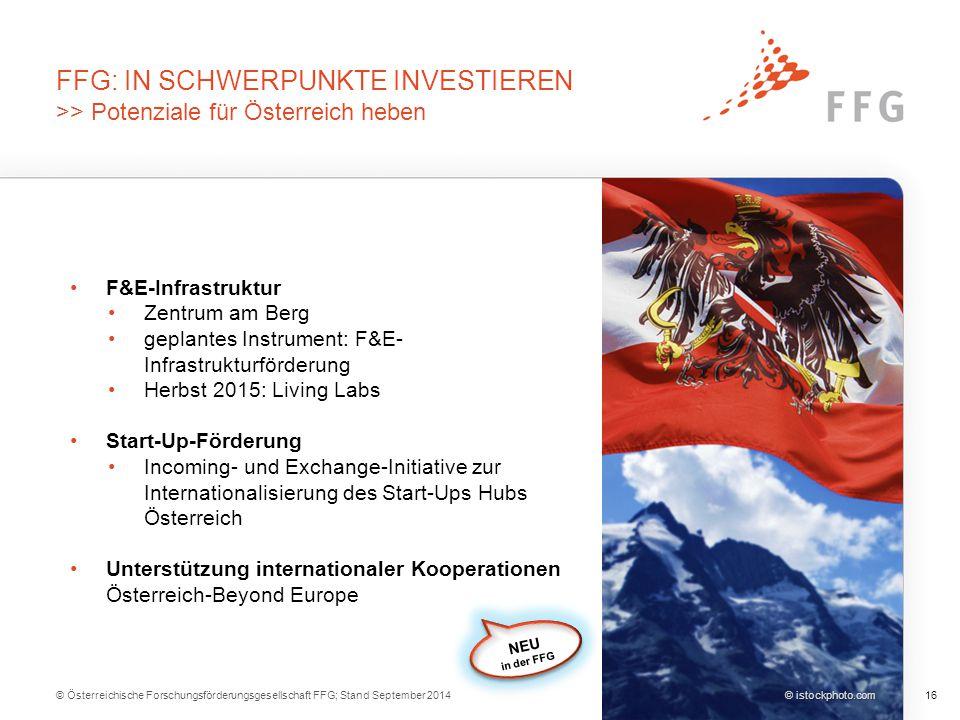 © Österreichische Forschungsförderungsgesellschaft FFG; Stand September 201416 © istockphoto.com FFG: IN SCHWERPUNKTE INVESTIEREN >> Potenziale für Ös