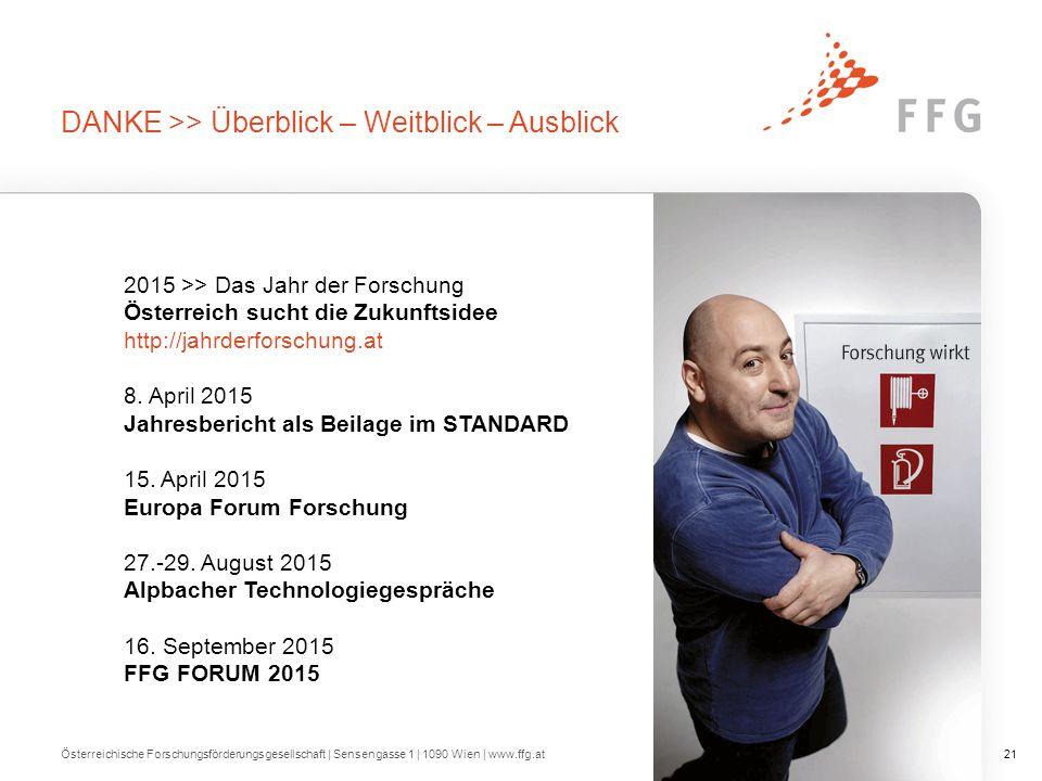 2015 >> Das Jahr der Forschung Österreich sucht die Zukunftsidee http://jahrderforschung.at 8. April 2015 Jahresbericht als Beilage im STANDARD 15. Ap