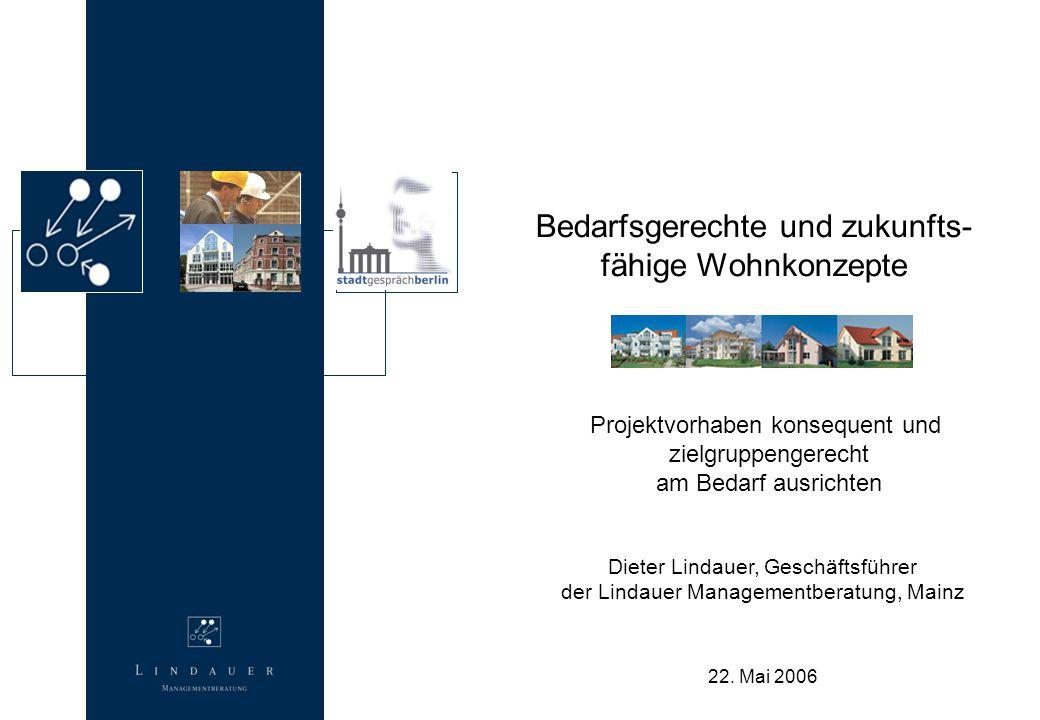 22. Mai 2006 Bedarfsgerechte und zukunfts- fähige Wohnkonzepte Projektvorhaben konsequent und zielgruppengerecht am Bedarf ausrichten Dieter Lindauer,