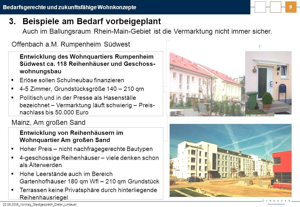 Bedarfsgerechte und zukunftsfähige Wohnkonzepte 22.05.2006_Vortrag_Stadtgespräch_Dieter_Lindauer 9 Offenbach a.M. Rumpenheim Südwest Mainz, Am großen