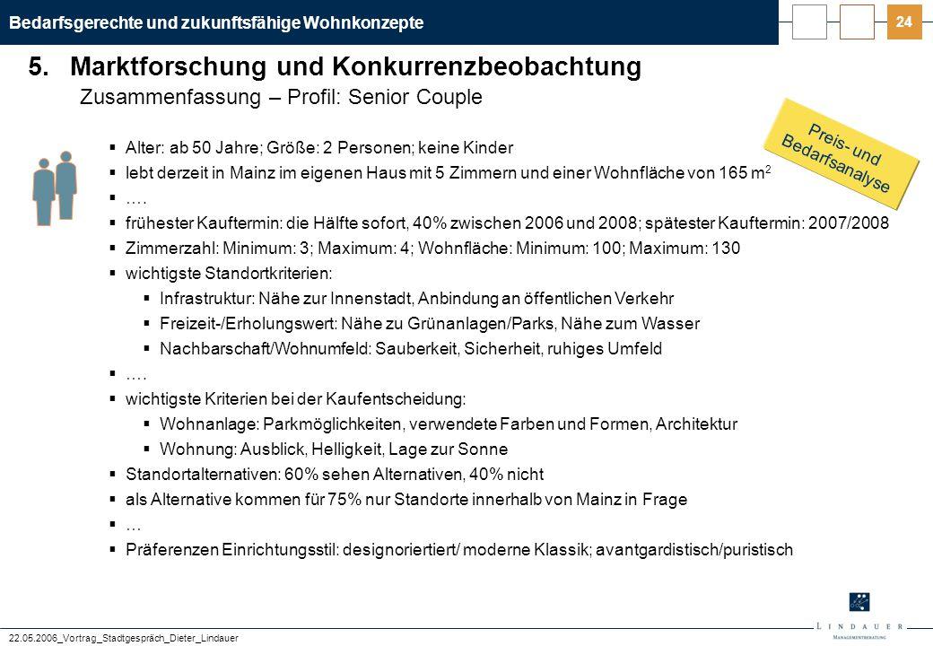 Bedarfsgerechte und zukunftsfähige Wohnkonzepte 22.05.2006_Vortrag_Stadtgespräch_Dieter_Lindauer 24 Zusammenfassung – Profil: Senior Couple  Alter: a