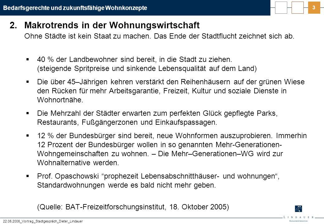 Bedarfsgerechte und zukunftsfähige Wohnkonzepte 22.05.2006_Vortrag_Stadtgespräch_Dieter_Lindauer 24 Zusammenfassung – Profil: Senior Couple  Alter: ab 50 Jahre; Größe: 2 Personen; keine Kinder  lebt derzeit in Mainz im eigenen Haus mit 5 Zimmern und einer Wohnfläche von 165 m 2  ….