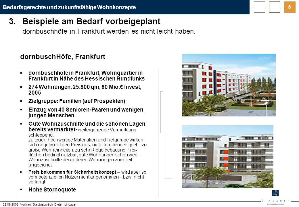 Bedarfsgerechte und zukunftsfähige Wohnkonzepte 22.05.2006_Vortrag_Stadtgespräch_Dieter_Lindauer 6 dornbuschhöfe in Frankfurt werden es nicht leicht h