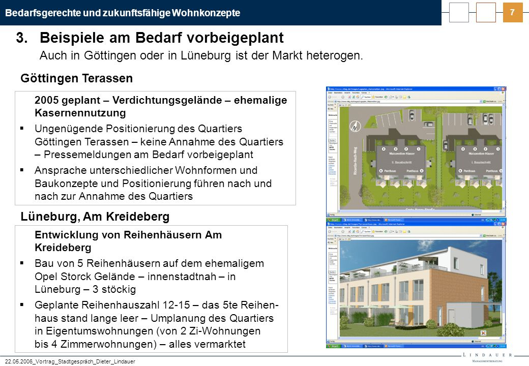 """Bedarfsgerechte und zukunftsfähige Wohnkonzepte 22.05.2006_Vortrag_Stadtgespräch_Dieter_Lindauer 8 Die Projektrendite ist im """"Kölner Rheinauhafen durch die Zinsbelastung """"dahin ."""