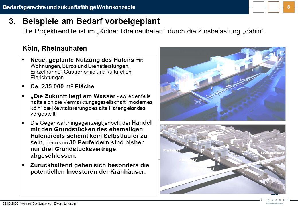 """Bedarfsgerechte und zukunftsfähige Wohnkonzepte 22.05.2006_Vortrag_Stadtgespräch_Dieter_Lindauer 8 Die Projektrendite ist im """"Kölner Rheinauhafen"""" dur"""