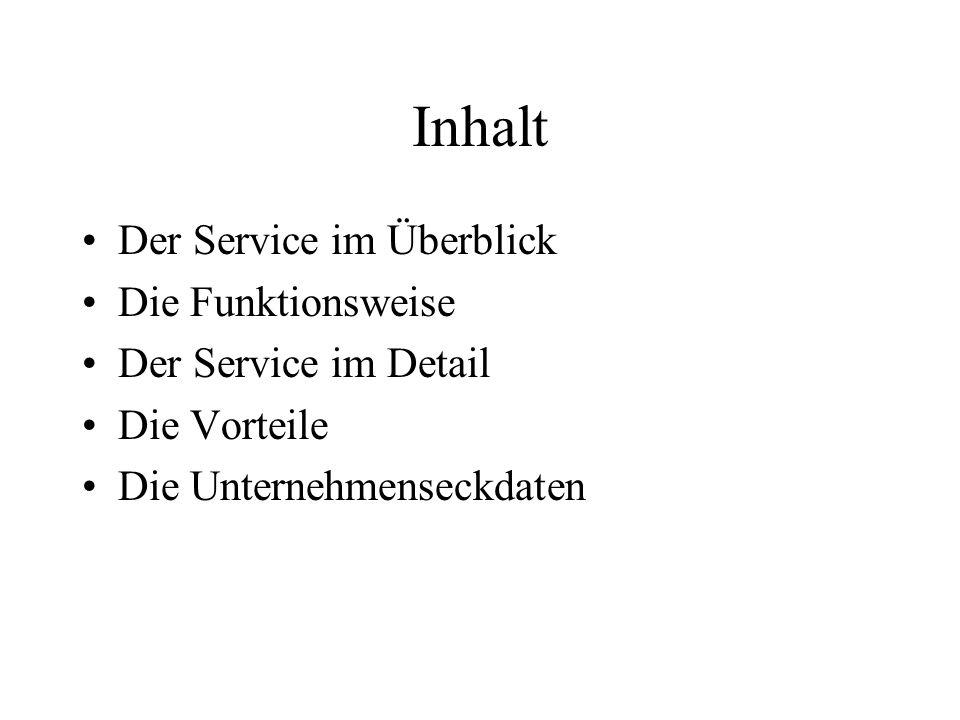Inhalt Der Service im Überblick Die Funktionsweise Der Service im Detail Die Vorteile Die Unternehmenseckdaten