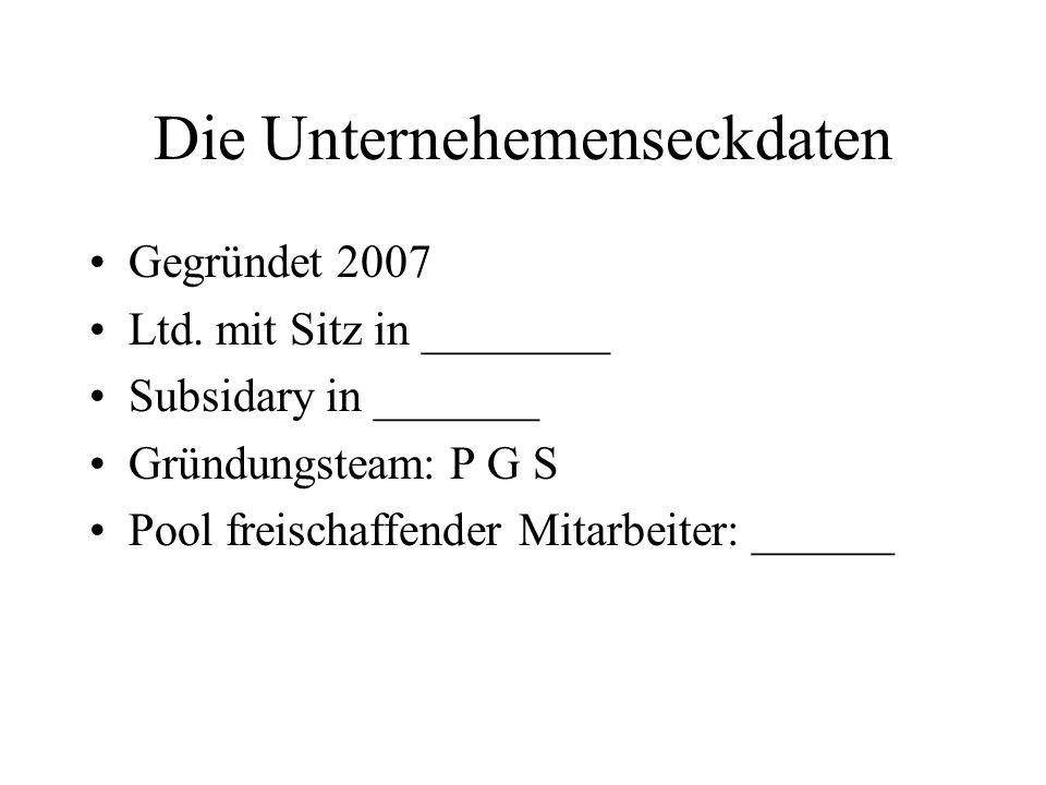 Die Unternehemenseckdaten Gegründet 2007 Ltd.