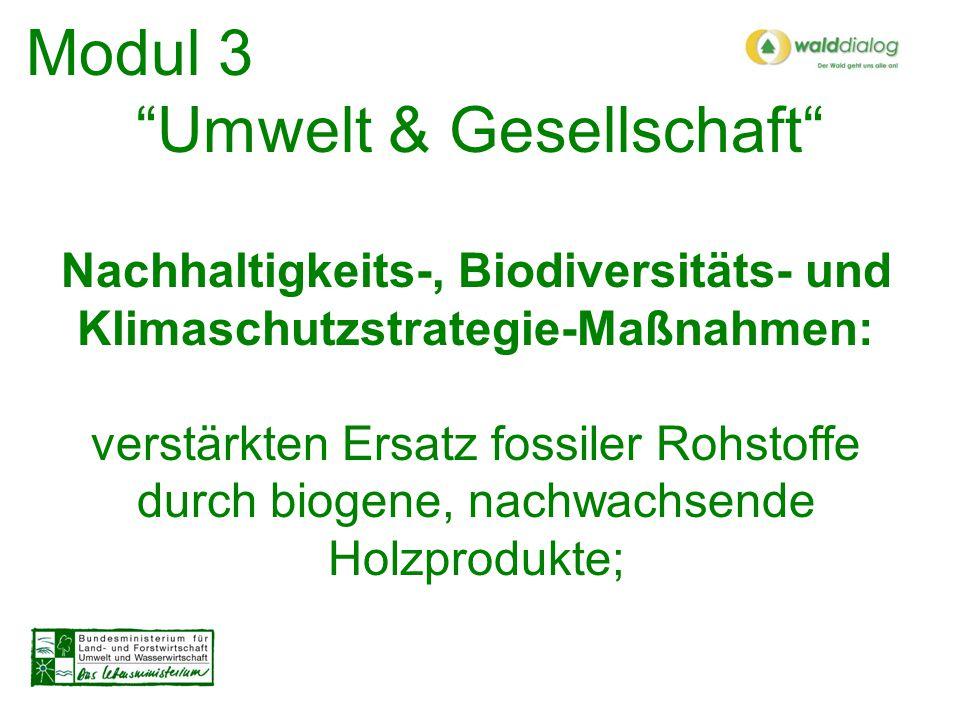 Modul 3 Umwelt & Gesellschaft Nachhaltigkeits-, Biodiversitäts- und Klimaschutzstrategie-Maßnahmen: umfassenden Schutz der Wälder und ihrer ökosystemaren Vielfalt auch für künftige Generationen !