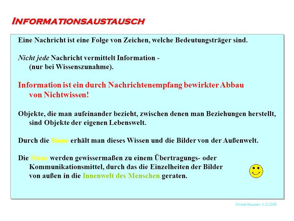 Christa Heussen, 4.12.2006 Informationsaustausch Eine Nachricht ist eine Folge von Zeichen, welche Bedeutungsträger sind. Nicht jede Nachricht vermitt