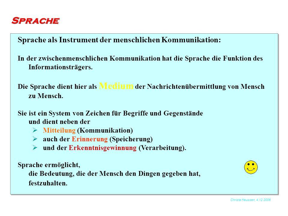 Christa Heussen, 4.12.2006 Sprache Sprache als Instrument der menschlichen Kommunikation: In der zwischenmenschlichen Kommunikation hat die Sprache di