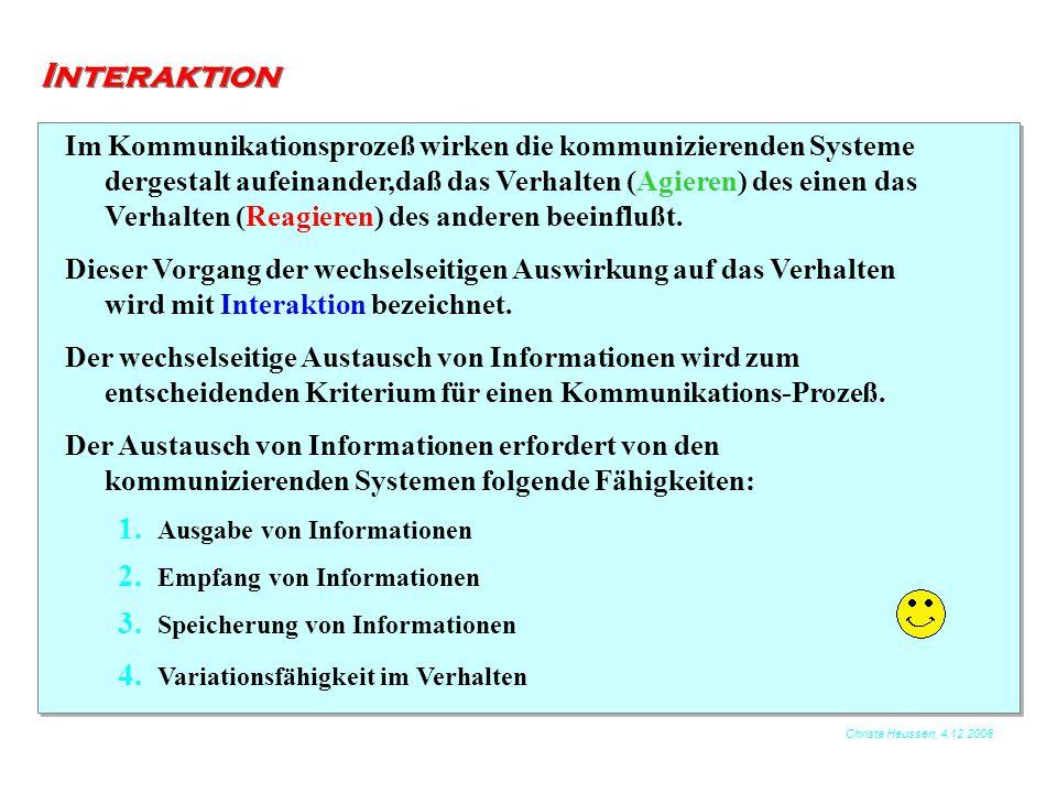 Christa Heussen, 4.12.2006 Interaktion Im Kommunikationsprozeß wirken die kommunizierenden Systeme dergestalt aufeinander,daß das Verhalten (Agieren)