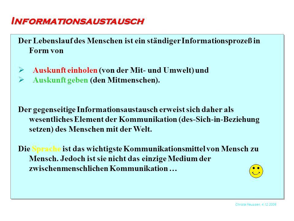 Christa Heussen, 4.12.2006 Informationsaustausch Als Medium der zwischenmenschlichen Kommunikation spielen auch Mimik Gestik und Verhalten eine Rolle.