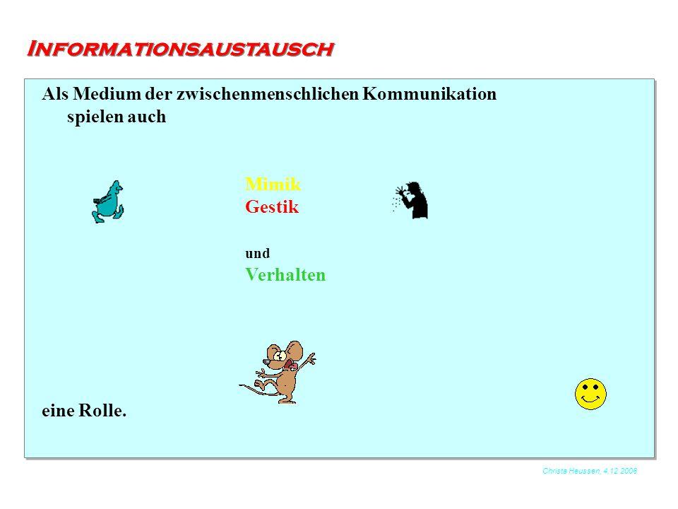 Christa Heussen, 4.12.2006 Informationsaustausch Das Verhalten als Kommunikationsmittel äußert sich auch im tierischen Bereich:  Informationsaustausch zwischen Bienen  Lock- / Warnruf eines Vogels im Wald  Röhrender Hirsch