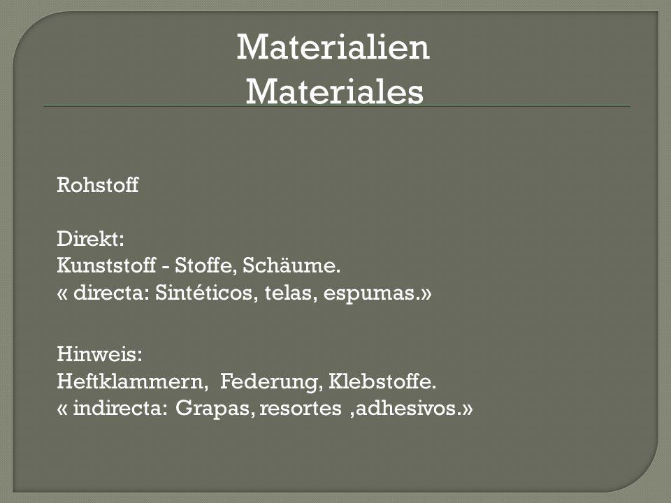 Materialien Materiales Rohstoff Direkt: Kunststoff - Stoffe, Schäume.