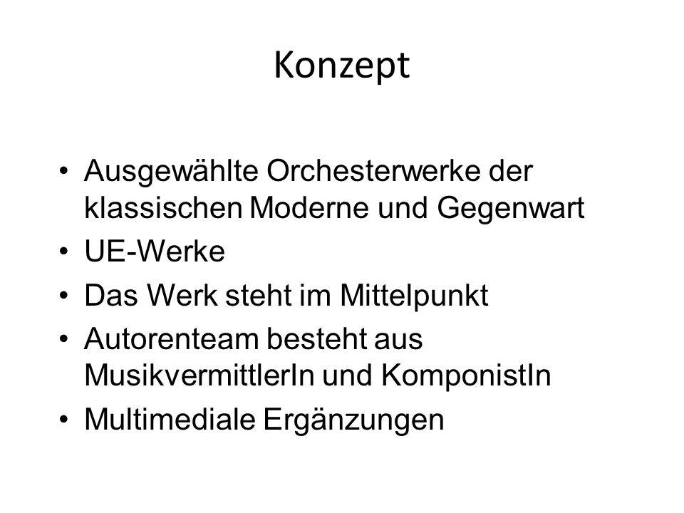 Konzept Ausgewählte Orchesterwerke der klassischen Moderne und Gegenwart UE-Werke Das Werk steht im Mittelpunkt Autorenteam besteht aus MusikvermittlerIn und KomponistIn Multimediale Ergänzungen