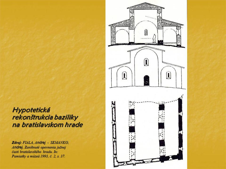 Zdroj: FIALA, A ndrej - SEMANKO, A ndrej. Zaniknuté opevnenia južnej časti bratislavského hradu. In: Pamiatky a múzeá 1993, č. 2, s. 37. Hypotetická r