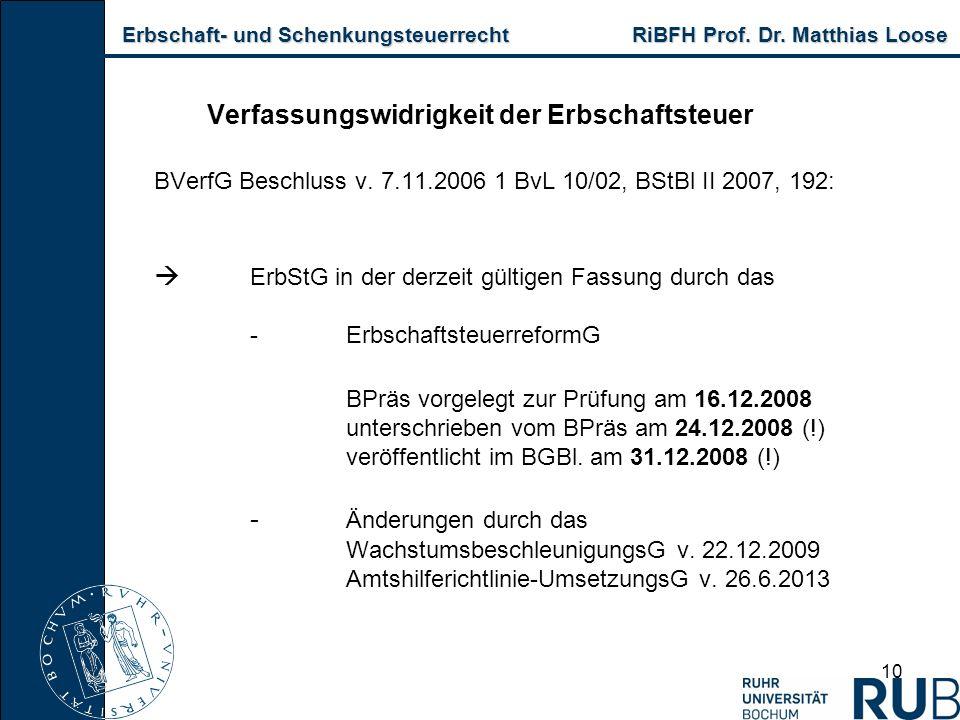 Erbschaft- und Schenkungsteuerrecht RiBFH Prof. Dr. Matthias Loose Erbschaft- und Schenkungsteuerrecht RiBFH Prof. Dr. Matthias Loose 10 Verfassungswi