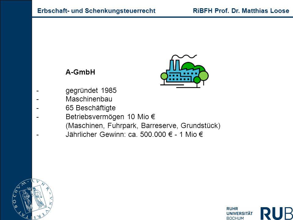 Erbschaft- und Schenkungsteuerrecht RiBFH Prof. Dr. Matthias Loose Erbschaft- und Schenkungsteuerrecht RiBFH Prof. Dr. Matthias Loose A-GmbH -gegründe