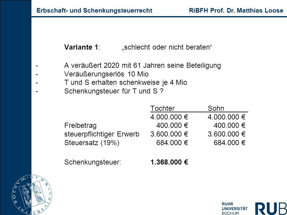 """Erbschaft- und Schenkungsteuerrecht RiBFH Prof. Dr. Matthias Loose Erbschaft- und Schenkungsteuerrecht RiBFH Prof. Dr. Matthias Loose Variante 1:""""schl"""