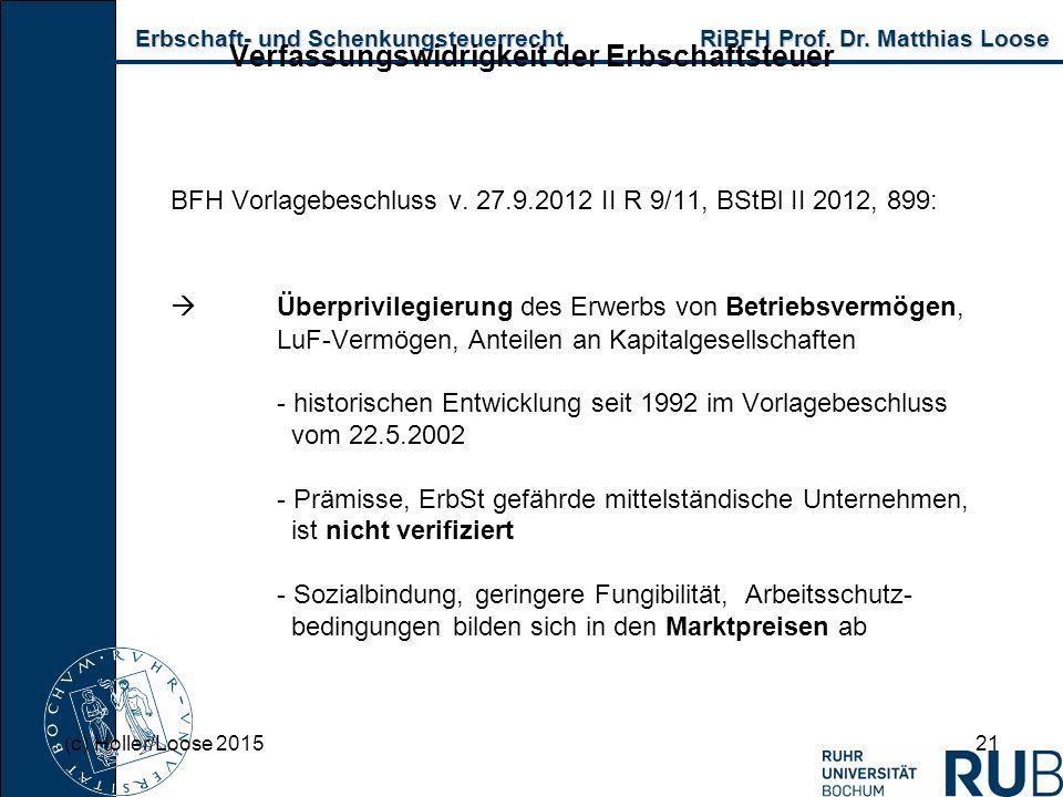 Erbschaft- und Schenkungsteuerrecht RiBFH Prof. Dr. Matthias Loose Erbschaft- und Schenkungsteuerrecht RiBFH Prof. Dr. Matthias Loose 21 Verfassungswi