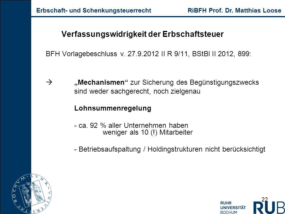 Erbschaft- und Schenkungsteuerrecht RiBFH Prof. Dr. Matthias Loose Erbschaft- und Schenkungsteuerrecht RiBFH Prof. Dr. Matthias Loose 22 Verfassungswi