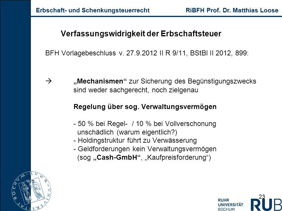 Erbschaft- und Schenkungsteuerrecht RiBFH Prof. Dr. Matthias Loose Erbschaft- und Schenkungsteuerrecht RiBFH Prof. Dr. Matthias Loose 23 Verfassungswi