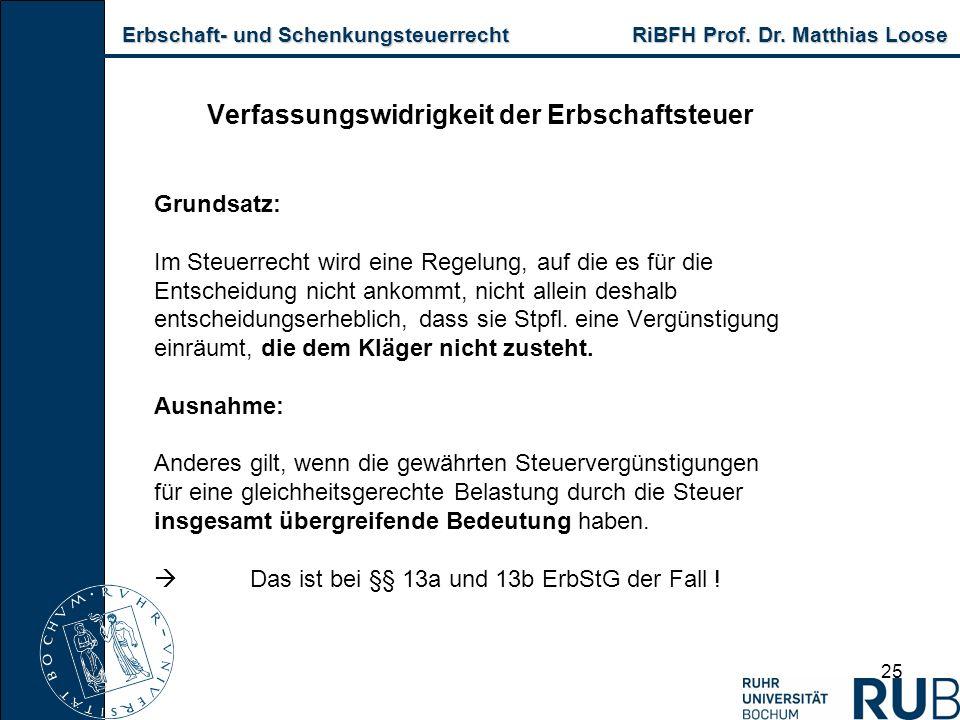 Erbschaft- und Schenkungsteuerrecht RiBFH Prof. Dr. Matthias Loose Erbschaft- und Schenkungsteuerrecht RiBFH Prof. Dr. Matthias Loose 25 Verfassungswi