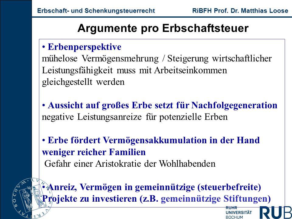 Erbschaft- und Schenkungsteuerrecht RiBFH Prof. Dr. Matthias Loose Erbschaft- und Schenkungsteuerrecht RiBFH Prof. Dr. Matthias Loose Argumente pro Er