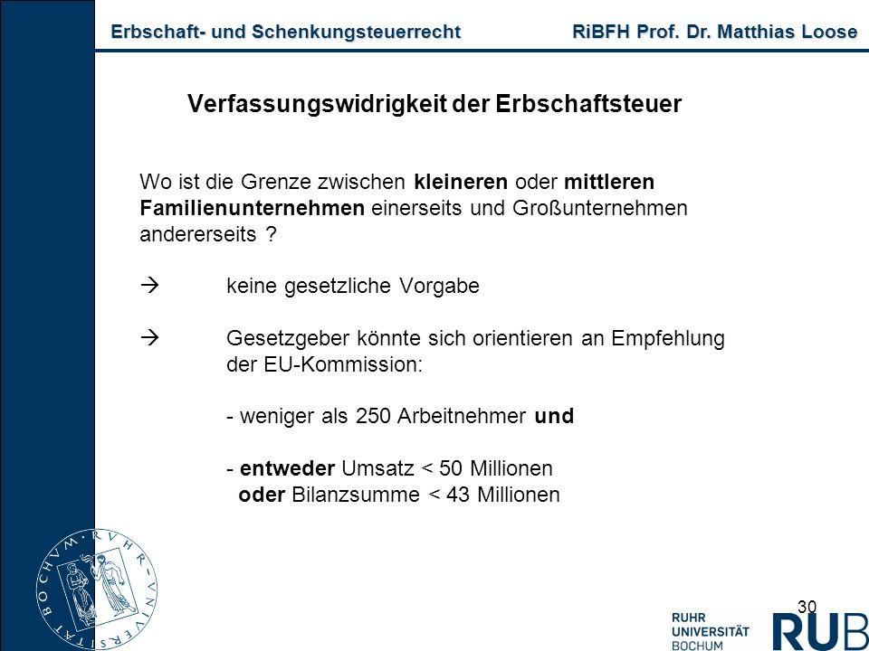 Erbschaft- und Schenkungsteuerrecht RiBFH Prof. Dr. Matthias Loose Erbschaft- und Schenkungsteuerrecht RiBFH Prof. Dr. Matthias Loose 30 Verfassungswi