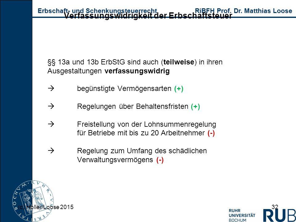 Erbschaft- und Schenkungsteuerrecht RiBFH Prof. Dr. Matthias Loose Erbschaft- und Schenkungsteuerrecht RiBFH Prof. Dr. Matthias Loose 32 Verfassungswi
