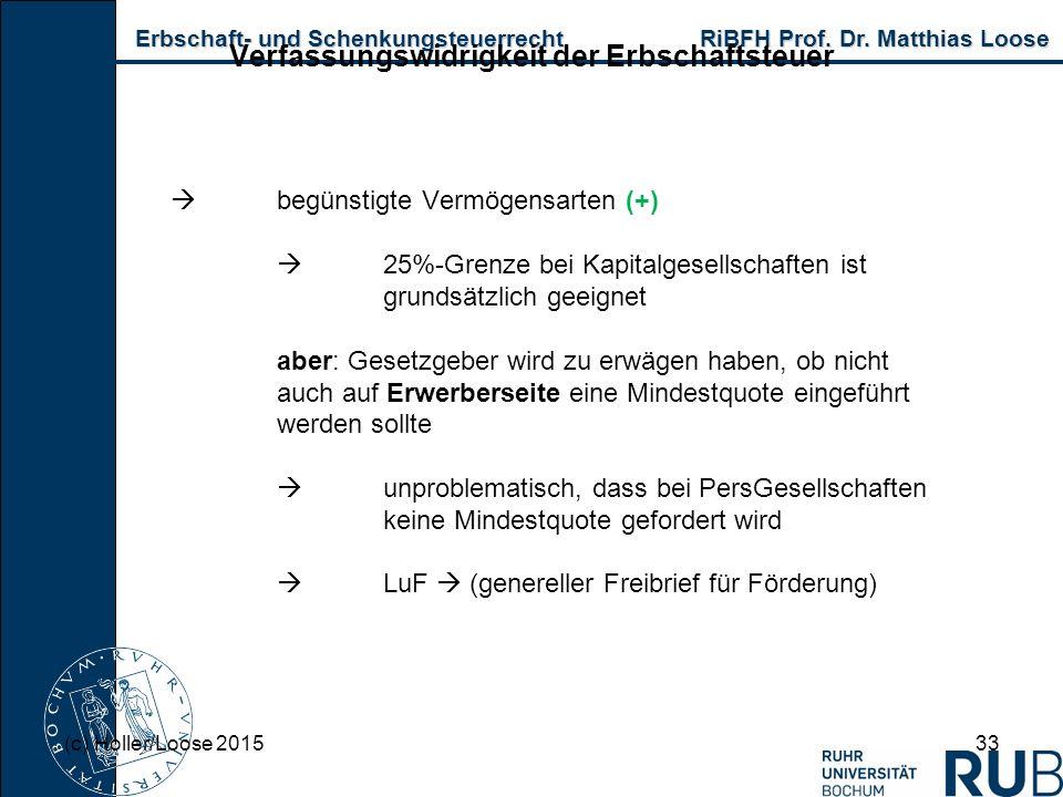 Erbschaft- und Schenkungsteuerrecht RiBFH Prof. Dr. Matthias Loose Erbschaft- und Schenkungsteuerrecht RiBFH Prof. Dr. Matthias Loose 33 Verfassungswi