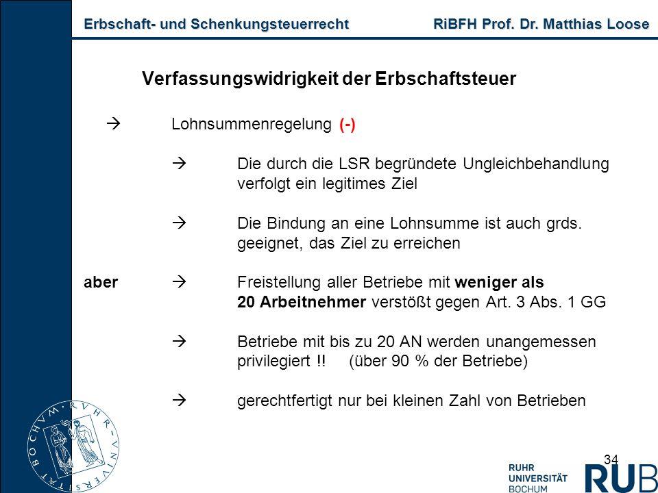 Erbschaft- und Schenkungsteuerrecht RiBFH Prof. Dr. Matthias Loose Erbschaft- und Schenkungsteuerrecht RiBFH Prof. Dr. Matthias Loose 34 Verfassungswi