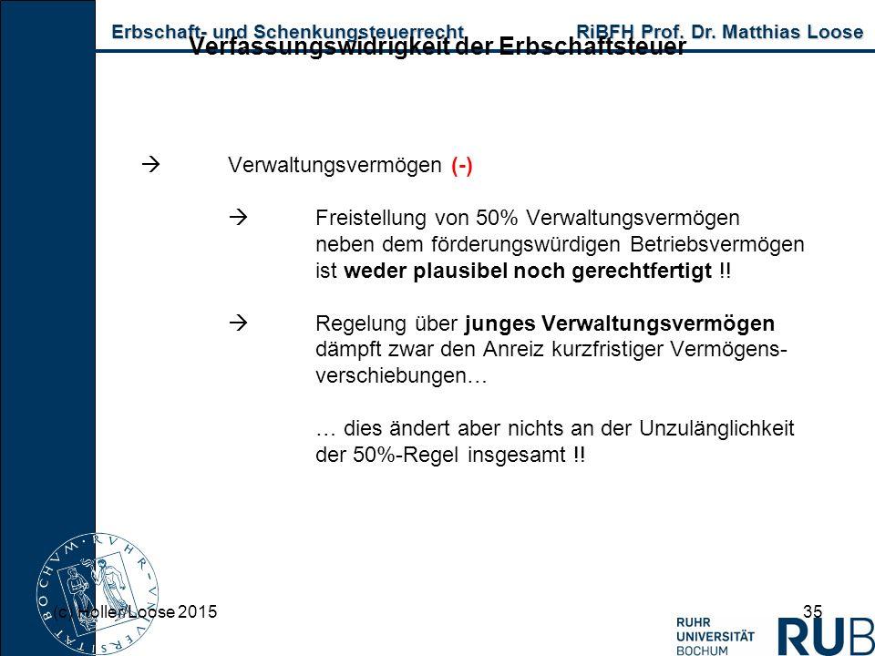 Erbschaft- und Schenkungsteuerrecht RiBFH Prof. Dr. Matthias Loose Erbschaft- und Schenkungsteuerrecht RiBFH Prof. Dr. Matthias Loose 35 Verfassungswi