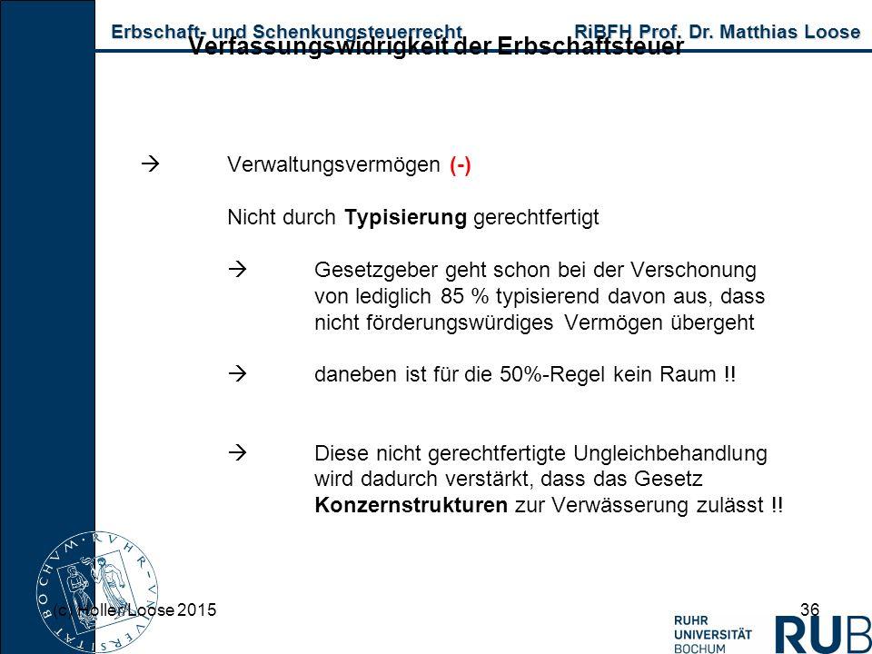Erbschaft- und Schenkungsteuerrecht RiBFH Prof. Dr. Matthias Loose Erbschaft- und Schenkungsteuerrecht RiBFH Prof. Dr. Matthias Loose 36 Verfassungswi