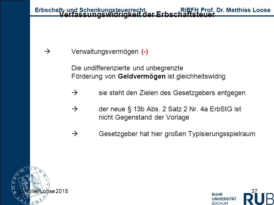 Erbschaft- und Schenkungsteuerrecht RiBFH Prof. Dr. Matthias Loose Erbschaft- und Schenkungsteuerrecht RiBFH Prof. Dr. Matthias Loose 37 Verfassungswi