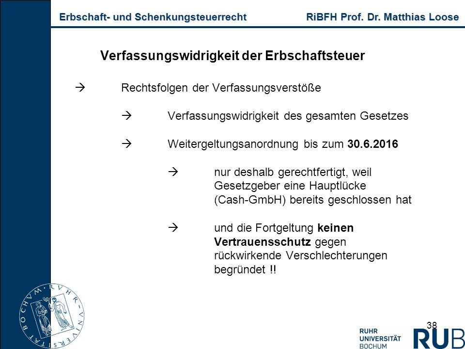 Erbschaft- und Schenkungsteuerrecht RiBFH Prof. Dr. Matthias Loose Erbschaft- und Schenkungsteuerrecht RiBFH Prof. Dr. Matthias Loose 38 Verfassungswi