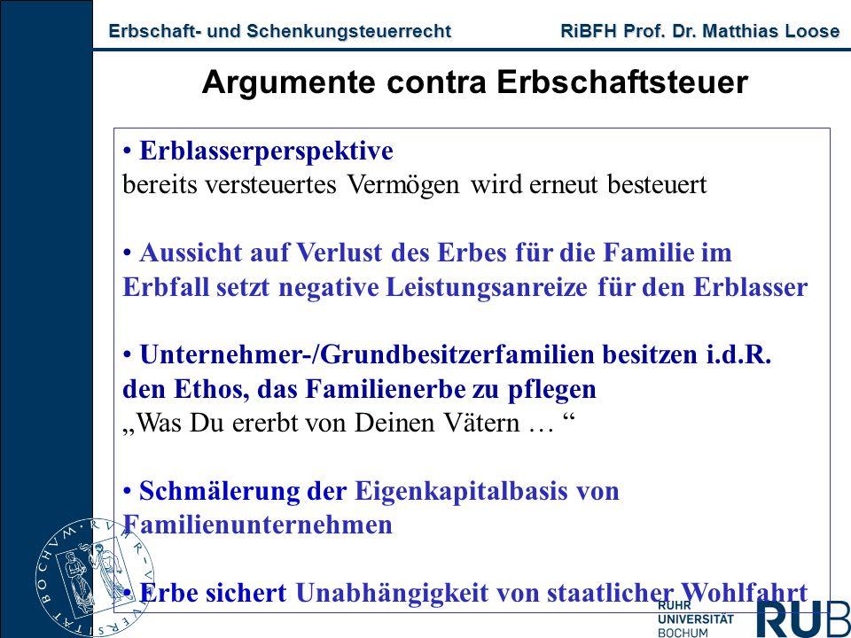 Erbschaft- und Schenkungsteuerrecht RiBFH Prof. Dr. Matthias Loose Erbschaft- und Schenkungsteuerrecht RiBFH Prof. Dr. Matthias Loose Argumente contra