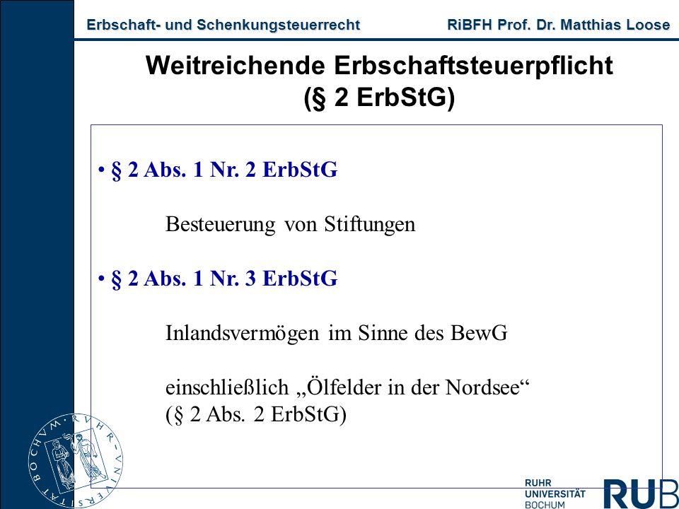 Erbschaft- und Schenkungsteuerrecht RiBFH Prof. Dr. Matthias Loose Erbschaft- und Schenkungsteuerrecht RiBFH Prof. Dr. Matthias Loose Weitreichende Er