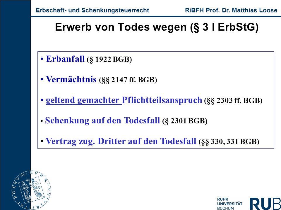 Erbschaft- und Schenkungsteuerrecht RiBFH Prof. Dr. Matthias Loose Erbschaft- und Schenkungsteuerrecht RiBFH Prof. Dr. Matthias Loose Erwerb von Todes