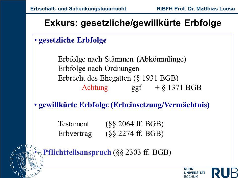 Erbschaft- und Schenkungsteuerrecht RiBFH Prof. Dr. Matthias Loose Erbschaft- und Schenkungsteuerrecht RiBFH Prof. Dr. Matthias Loose Exkurs: gesetzli