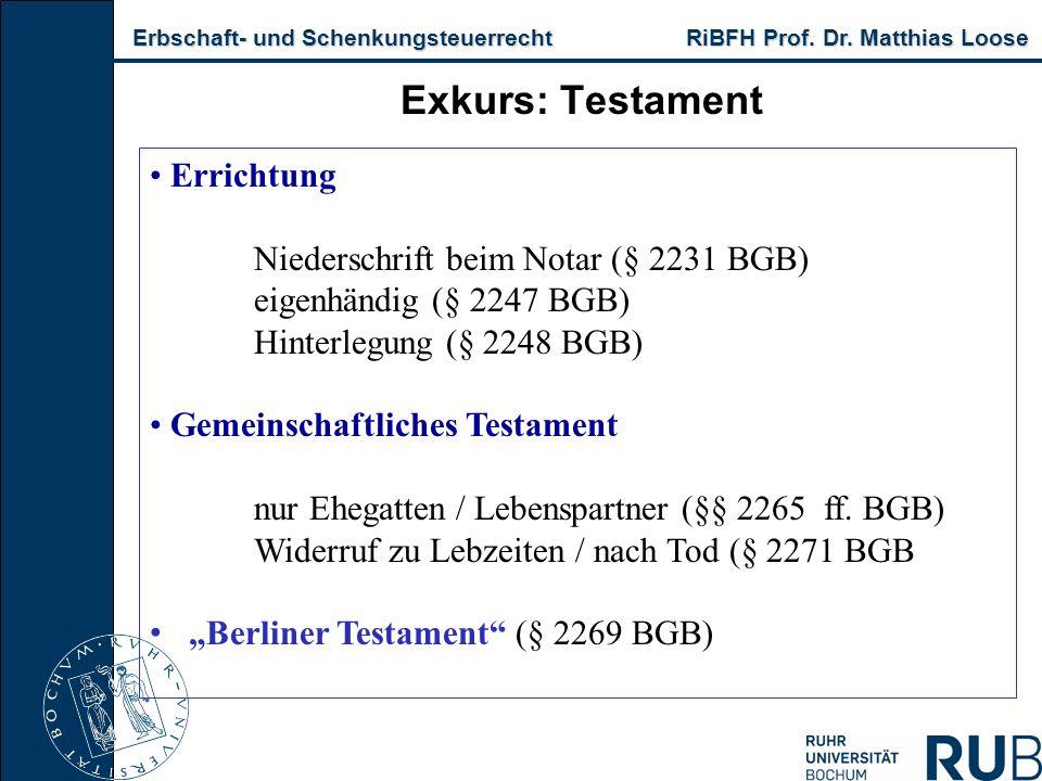 Erbschaft- und Schenkungsteuerrecht RiBFH Prof. Dr. Matthias Loose Erbschaft- und Schenkungsteuerrecht RiBFH Prof. Dr. Matthias Loose Exkurs: Testamen