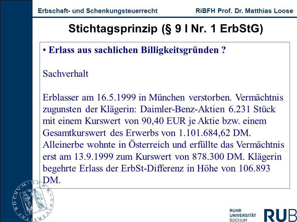 Erbschaft- und Schenkungsteuerrecht RiBFH Prof. Dr. Matthias Loose Erbschaft- und Schenkungsteuerrecht RiBFH Prof. Dr. Matthias Loose Stichtagsprinzip
