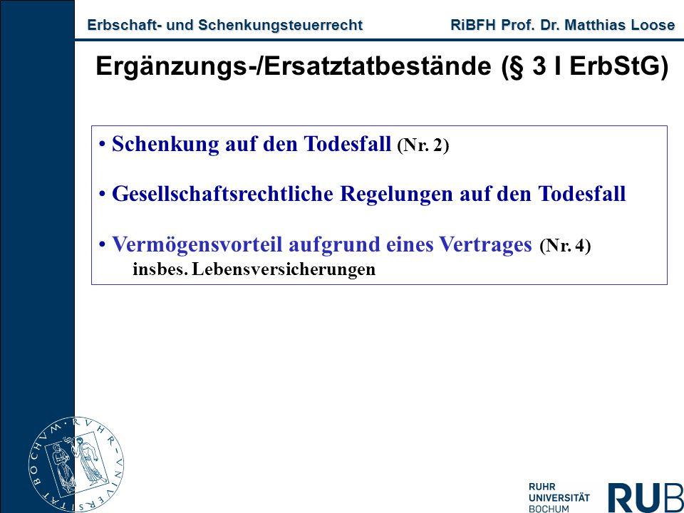 Erbschaft- und Schenkungsteuerrecht RiBFH Prof. Dr. Matthias Loose Erbschaft- und Schenkungsteuerrecht RiBFH Prof. Dr. Matthias Loose Ergänzungs-/Ersa